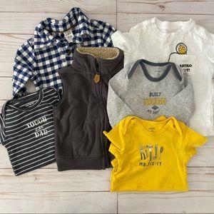 Carter's Bundle of Flannel, Vest, & Bodysuits 12M